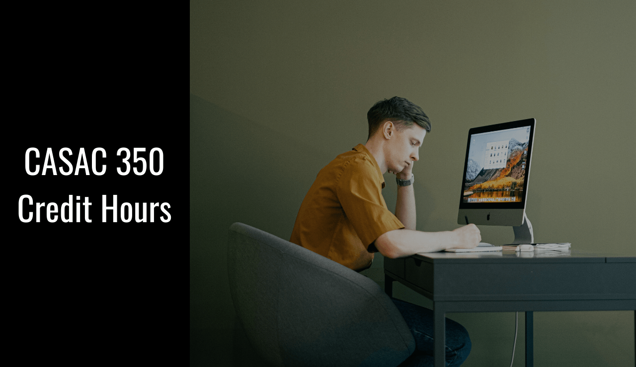 A man sits at a computer to begin his Online Addiction Counselor Training CASAC 350 years